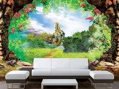 "Wall STICKER MURAL castle fairy tale decole fantasy 158x95""/4x2,4m 