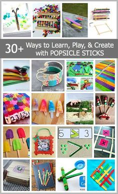 Over 30 ways for kids to learn, play, and create with popsicle sticks and craft sticks! Over 30 ways for kids to learn, play, and create with popsicle sticks and craft sticks! Crafts For Kids To Make, Craft Activities For Kids, Preschool Crafts, Toddler Activities, Art For Kids, Literacy Activities, Popsicle Stick Crafts, Popsicle Sticks, Craft Stick Crafts