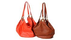 Argentine Leather Bags designed by  Paige Ralston Fromer. Always LOVE an orange bag!