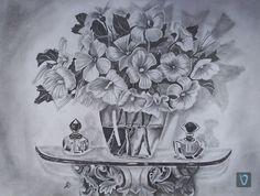 """Still life""""Totalmente femenino"""" Papel/dibujo de lápiz A3 valian-art.com #valian #art #valianart #drawing #pencil #realism"""