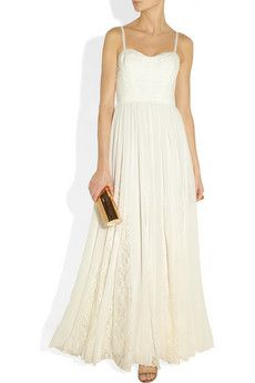 Alice + Olivia Geneva lace-trimmed silk-chiffon maxi dress