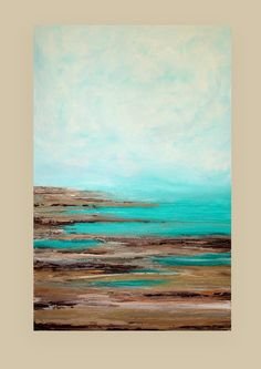 "Ocean Seascape Acrylic Abstract Painting Titled: Letting Go 30x48x1.5"" by Ora Birenbaum"