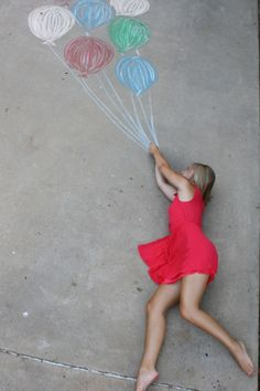 driveway chalk photo red dress with balloons