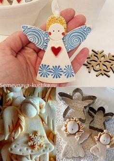 сверкать Clay Christmas Decorations, Christmas Tree Ornaments, Christmas Crafts, School Art Projects, Clay Projects, Dyi Crafts, Fall Crafts, Mobiles, Ceramic Angels