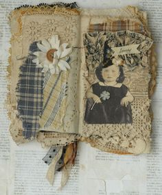 Mixed Media Fabric Collage Book of Little Witches | eBay