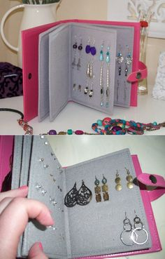 Earring book: felt, cardboard, hot glue and punch - # hot glue # glue # punch # earring . - Earring book: felt, cardboard, hot glue and punch – # Hot glue # glue # punch # earring … - Diy Jewelry Unique, Diy Jewelry To Sell, Diy Jewelry Holder, Diy Jewelry Making, Stylish Jewelry, Jewelry Box, Jewelry Ideas, Fine Jewelry, Diy Earring Holder