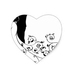 #bridal - #Abstract Bride and Groom Wedding Silhouette Heart Sticker