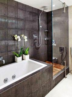 streamlined bathroom - Bathrooms We Love at Design Connection, Inc. Kansas City Interior Design http://www.DesignConnectionInc.com/Blog #interiordesign