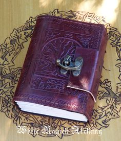 White Magick Alchemy - Tree of Life Small Blank Leather Journal with Lock 3.5x5, $26.95 (http://www.whitemagickalchemy.com/tree-of-life-small-blank-leather-journal-with-lock-3-5x5/)