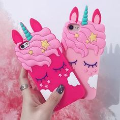 Buy Cute Cartoon Unicorn Horse Pink Case For iPhone 5 6 7 8 Plus X Soft Silicone Rubber Cover for Samsung Plus Coque at Wish - Shopping Made Fun Iphone 7 Plus, Iphone 8, 3d Iphone Cases, Silicone Iphone Cases, Minion Phone Cases, Apple Iphone 5, Cartoon Unicorn, 3d Cartoon, Iphone Cartoon