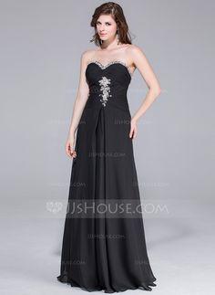 A-Line/Princess Sweetheart Floor-Length Chiffon Prom Dress With Ruffle Beading (018025513)
