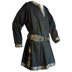 Medieval Gold Trim Long Sleeves Knight Tunic, Black - M Medieval Clothing Men, Medieval Tunic, Medieval Costume, Historical Clothing, Men's Clothing, Medieval Fashion, Historical Photos, Long Sleeve Tunic, Long Sleeve Tops