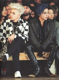 I feel that some music artists, like GD and Taeyang (both above) and CL as well, have reached that stage above high fashion where they're experimenting and have their own wacky but awesome fashion (debatable on a day to day basis...) whilst other idols kind of stick to their classy (that I still love), but kinda normal clothing, iygwim.