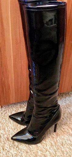 Thigh High Boots Heels, Stiletto Boots, Hot High Heels, Knee Boots, Heeled Boots, Sexy Heels, Shiny Boots, Botas Sexy, Square Toe Boots