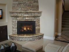 stone corner fireplaces | Corner fireplace, stone | Family Rooms & Fire Places