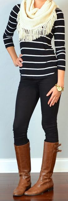 Striped shirt, black skinny, jeans, white fringe scarf, brown riding boots