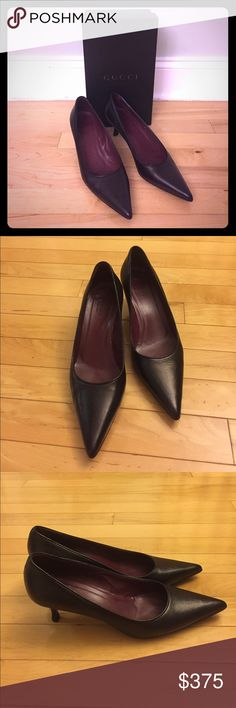 "Gucci Black Pumps Size 7.5 These elegant Gucci black pumps size 7.5 are in excellent condition. Only worn once to an event and stored in their original shoe box. Made of finest Italian leather! Very classic and elegant! Kitten heels are 3"" high. Gucci Shoes Heels"