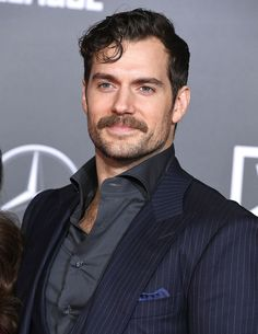 Here's Henry Cavill with a mustache. Henry Cavill Justice League, Famous Celebrities, Celebs, Cool Mustaches, Celebrity Siblings, Patrick Jane, Celebrity Workout, Handsome Actors, Hair And Beard Styles