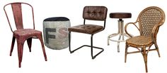 Sillas, taburetes, puffs... mobiliario de estética vintage.