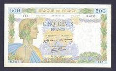 FRANCE * 500 Francs 16/7/1942 AU *NO PIN HOLES ! Beautiful multicolor banknote!  http://www.ebay.com/itm/FRANCE-500-Francs-16-7-1942-AU-NO-PIN-HOLES-Beautiful-multicolor-banknote-/160894902166?pt=Paper_Money=item2576155f96