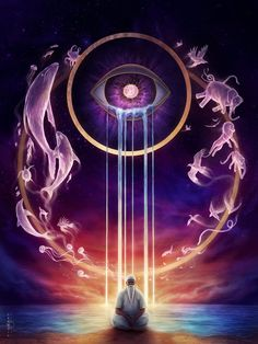 The 6th chakra, the pineal gland or third eye, your connection to the spiritual world. While meditating focus on your third eye, close your physical eyes and imagine your third eye open. Concentrate...