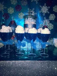 Frozen Disney Party | CatchMyParty.com jelly and cream (could add sparkles/sprinkles on top)