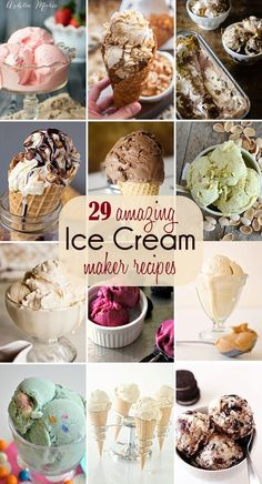I use my ice cream maker at least twice a month, more in the summer! Here are 29 amazing recipes you can make in your ice cream maker. I need an ice cream maker! Ice Cream Treats, Ice Cream Desserts, Köstliche Desserts, Frozen Desserts, Frozen Treats, Cuisinart Ice Cream Recipes, Pampered Chef Ice Cream Recipe, Easy Ice Cream Recipe, Yummy Ice Cream