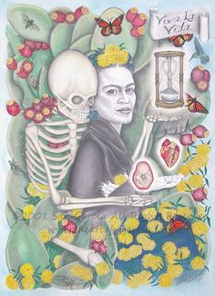"Viva La Vida, 22"" x 30"", September 2008.  Graphite, watercolor, paper.  © 2008 S.G. Garcia All Rights Reserved. Fine Art Giclee Prints of  Viva La Vida for sale on my site, www.theartofsggarcia.com #FridaKahlo, #fridakahloinspired, #graphite, #watercolor, #paper, #cactus, #skeleton, #heart, #butterflies,#marigolds, #pricklypears, #hourglass, #cicadas, #chicanoart, #chicana, #chicanaartist, #chingona, #selftaughtartist"