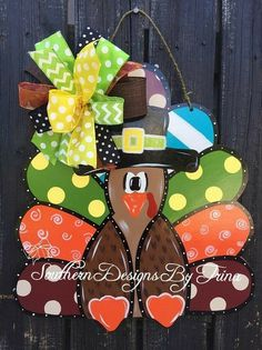 Funky Turkey wooden door hanger fall door by SouthernDesignsByTM Thanksgiving Crafts, Fall Crafts, Holiday Crafts, Burlap Door Hangers, Fall Door Hangers, Holiday Door Decorations, Painting Burlap, Halloween Door Hangers, Wooden Crafts