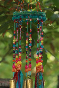bohemian decor sun catcher beaded mobile with brass bells and fabric tassels Crystal Beads, Glass Beads, Fused Glass, Diy Wind Chimes, Arts And Crafts, Diy Crafts, Beaded Curtains, Pink Turquoise, Mobiles