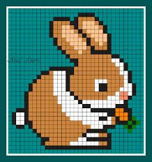 lapin qui mange sa carotte pixel mania
