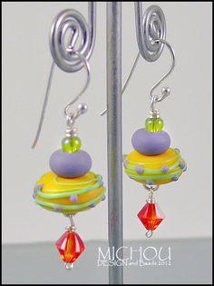 Little Pancake Yellow  Handmade lampwork Earrings by MichouJewelry, $33.00