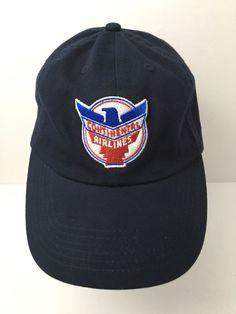 Vintage Continental Airlines Cap Hat Retro Logo Embroidered Blue Strapback  EUC fea0d95e0925