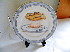 "American Atelier Breakfast Treats Canape Bread Plate BlueberryMuffin  6 1/2""/M10 #AmericanAtelier"