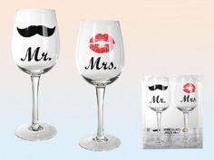 Weinglas 430 ml Mr. & Mrs. Kussmund und Schnurrbart Design 2 Stück in Geschenkpackung