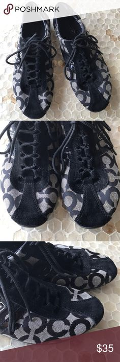 Coach back logo Kathleen sneakers size 8.5 Coach black cap mean sneakers in a size 8.5 in OK condition. A few stains not really noticeable as shown in the pictures above. A little rip in the leather around the ankle barely noticeable. Coach Shoes Sneakers