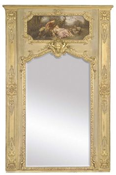 2nd Floor / On Wall, Above The Gold Console Table, In The Cherise Bathroom / Louis XVI Style Trumeau Mirror: (Last quarter 19c.)