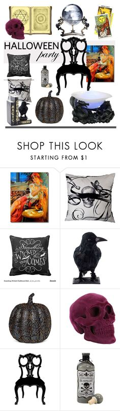 """""""Tricks and Treats"""" by patricia-dimmick ❤ liked on Polyvore featuring interior, interiors, interior design, home, home decor, interior decorating, Universal Lighting and Decor, Fountain and Halloweenparty"""
