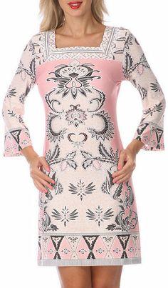 Ivory & Pink Embellished Square Neck Dress