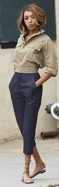 #spring #fashion #denim #outfitideas |Military Denim + Navy Denim