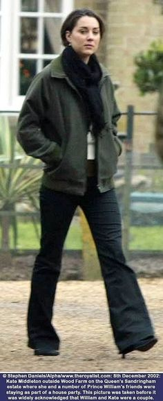 Duchess Catherine in jeans, black scarf and green jacket, December 2002