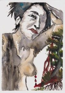Pain with the tree Painting, Art, Watercolor Art, Figures