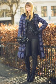 Stand out among other stylish civilians in a navy puffer jacket and black leather slim trousers. Black leather ankle boots will instantly smarten up even the laziest of looks.  Shop this look for $251:  http://lookastic.com/women/looks/puffer-coat-and-crew-neck-sweater-and-crossbody-bag-and-skinny-pants-and-ankle-boots/1289  — Navy Puffer Jacket  — Black Embellished Crew-neck Sweater  — Black Leather Crossbody Bag  — Black Leather Skinny Pants  — Black Leather Ankle Boots