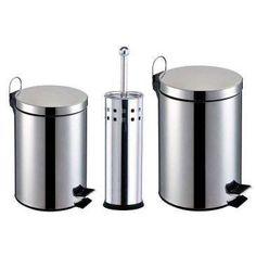 Kit Banheiro 3 Peças: Lixeiras em Aço Inox com capacidade para 3 e 5L + Escova…