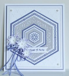 Image result for sue wilson hexagon card Spellbinders Cards, Stampin Up Cards, Hexagon Cards, Tattered Lace Cards, Sue Wilson, Embossed Cards, Happy Birthday Cards, Quilting Designs, Making Ideas