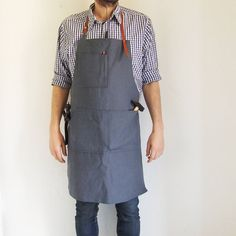 Dark Grey Panama Fabric Apron with Leather Strap. Artisan apron, Work Apron, CraftMan Apron by pverbenero on Etsy