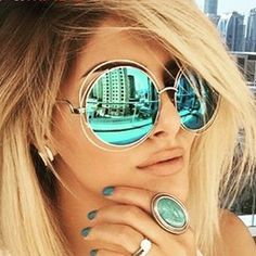 4171a86fef8 ... Big Round ROXANNE Bohemian Coachella Sunglasses Color Gold Turquoise  Mirror  the level of anti UV  UV protection Frame material  Metal frame  ability.