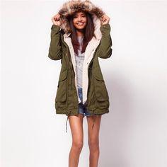 WomensDate 2016 Winter Women Parka Casual Outwear Military Hooded Coat Winter Jacket Women Fur Coats Woman Clothes Manteau Femme