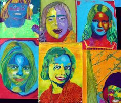 Min datter Kathrine - i midten for neden :D Hinnerup Billedskole. Portraits For Kids, Portrait Ideas, Pop Art, Visual Art Lessons, School Painting, Collage, Baby Development, Andy Warhol, Drawing For Kids