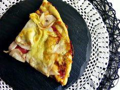 pizza de espelta com presunto e pêra